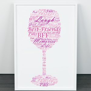 Food And Drink Personalised Wine Glass Word Art Print