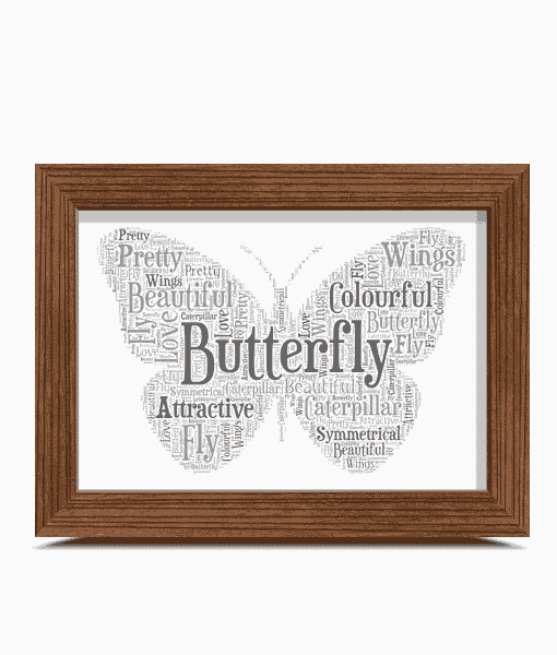 Animal Prints Butterfly Shape Word Art Print