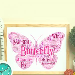 Butterfly Shape Word Art Print
