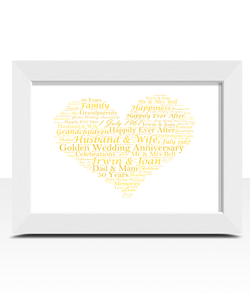 Golden Wedding 50th Anniversary Word Art Gift