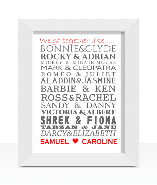 Famous Couples Word Art Print