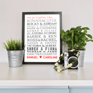 Engagement Gifts Famous Couples Word Art Print