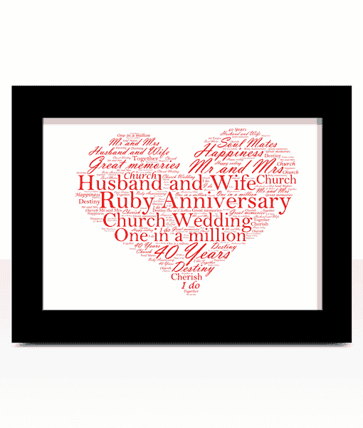 40th Wedding Anniversary Gift.Ruby Wedding 40th Anniversary Word Art Gift