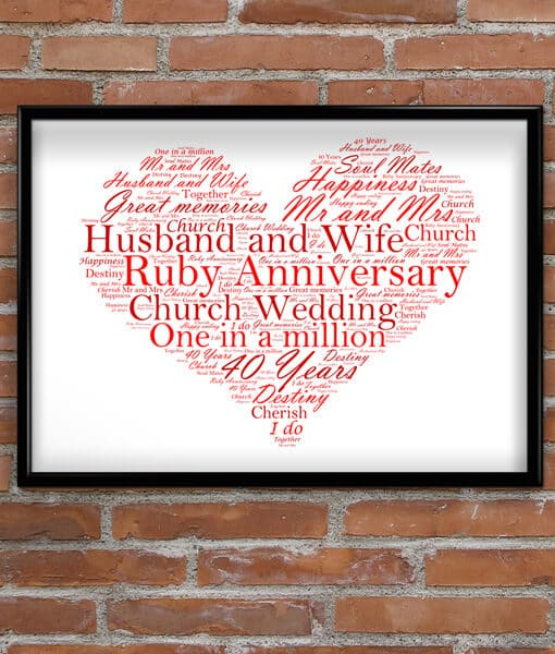 Personalised Ruby Wedding Anniversary Gift Personalised 40th