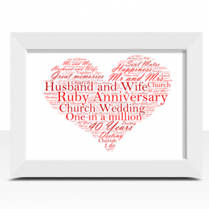 Anniversary Gifts Ruby Wedding 40th Anniversary Word Art Gift