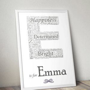 Personalised Letter – Name Initial Word Art Print