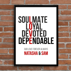 Personalised Love Typography Print
