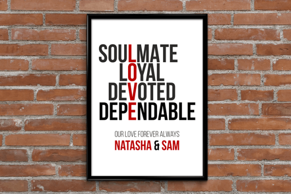 Engagement Gifts Personalised Love Typography Print