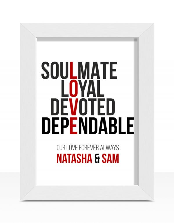 Personalised Love Typography Print