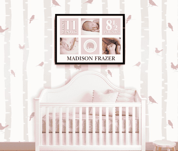 Baby Gift Boutique Uk : Personalised baby girl photo gift abc prints