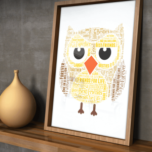 Animal Prints Personalised Owl Word Art Gift