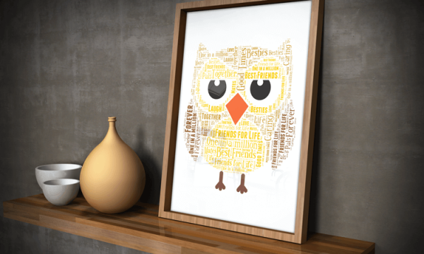 Animal Prints Personalised Owl Word Art Gift