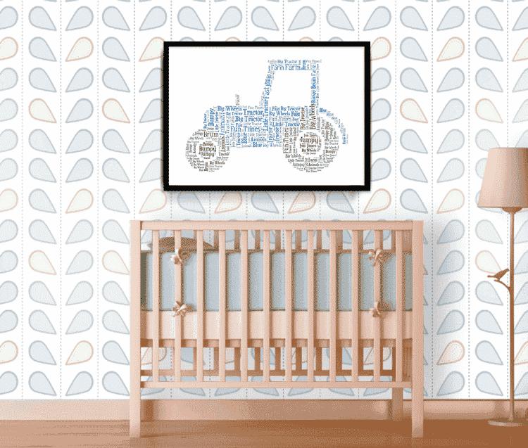 PERSONALISED Penguin Word Art Wall Print Gift Idea Nursery New Baby Kids Bedroom