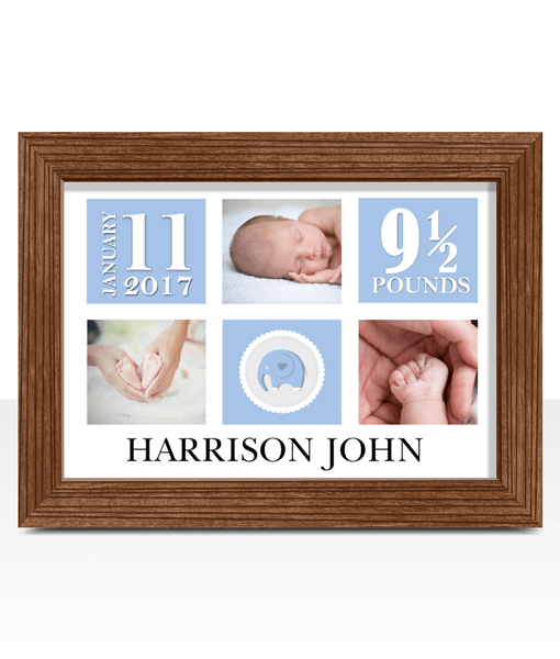 Personalised New Baby Boy Photo Gift