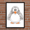 Animal Prints Personalised Penguin Word Art Gift