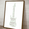 Personalised Electric Guitar Word Art Fathers Day Gifts