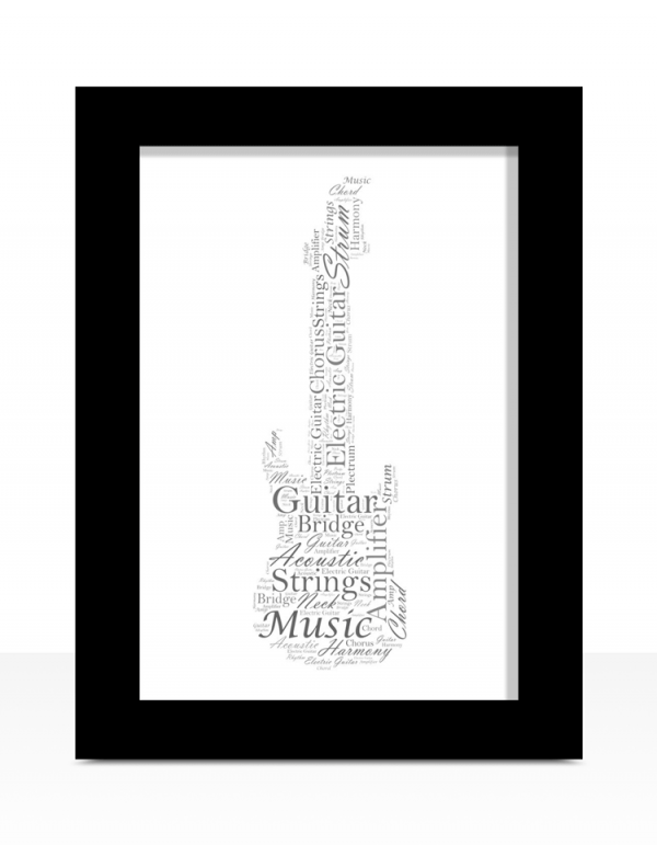 Fathers Day Gifts Personalised Electric Guitar Word Art
