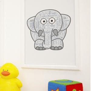 Animal Prints Personalised Elephant Word Art Print