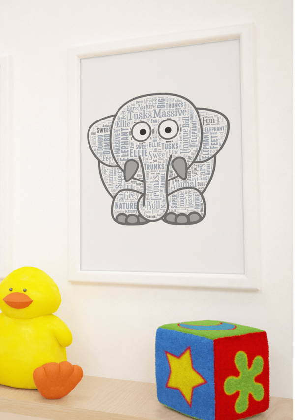 Animal Prints Personalised Elephant Word Art Print
