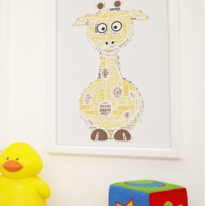 Personalised Giraffe Word Art Print