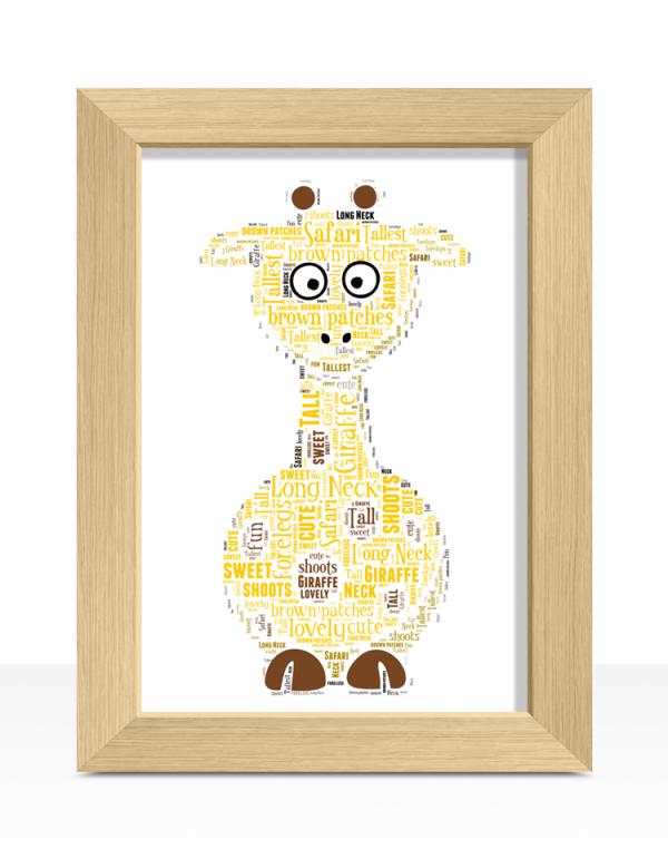 Animal Prints Personalised Giraffe Word Art Print