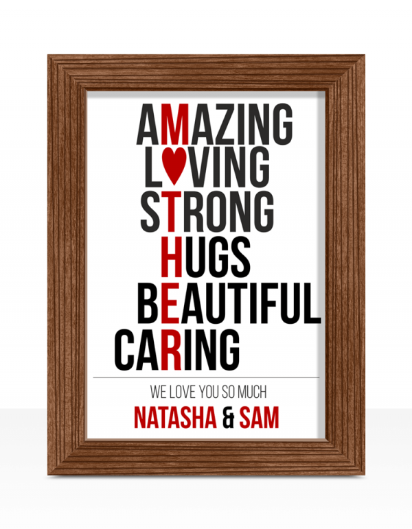 Gifts For Her Mother's Day Typography Print Gift