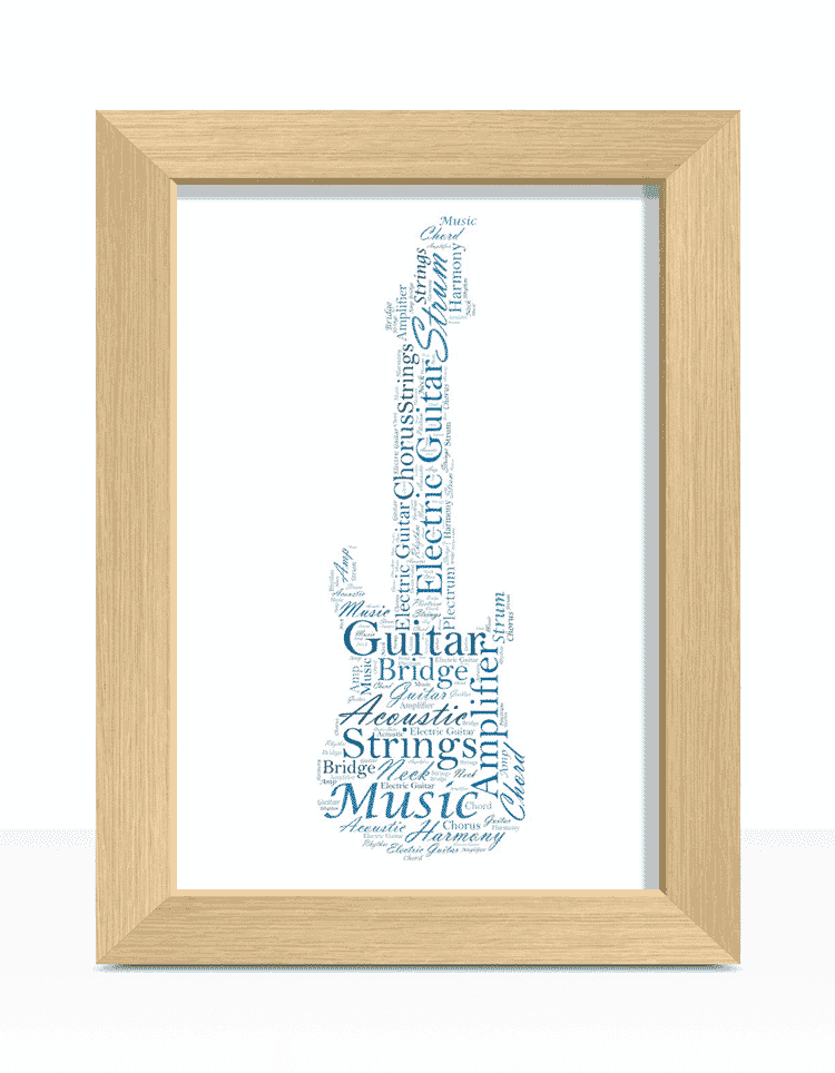 Personalised Electric Guitar Word Art | ABC Prints