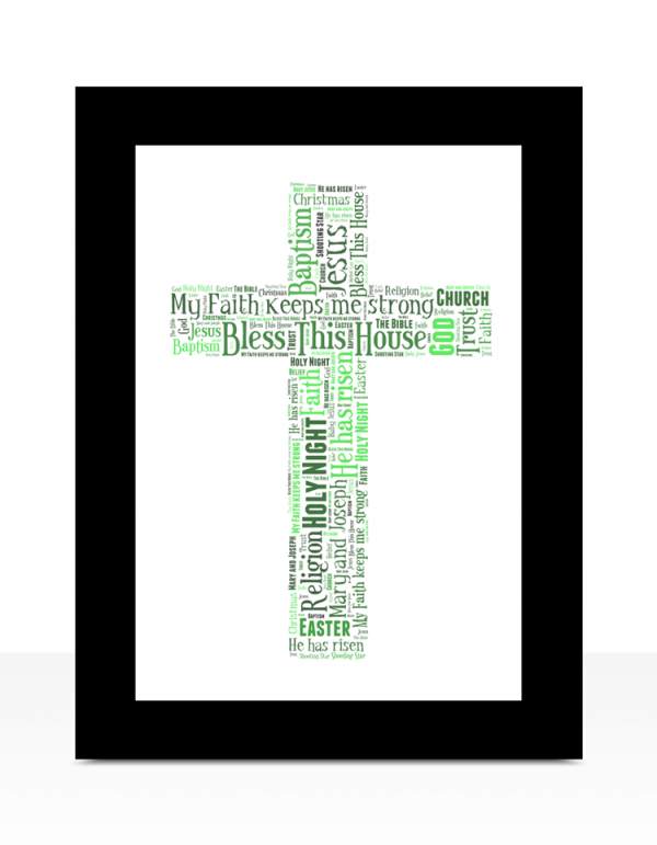 Christening Gifts Cross Shape Word Art