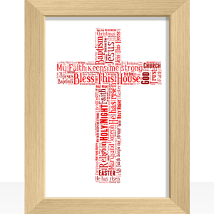Christening Gifts Cross Shape Word Art