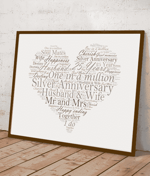 Silver Wedding 25th Anniversary Word Art Gift  sc 1 st  ABC Prints & Silver Wedding 25th Anniversary Word Art Gift | ABC Prints