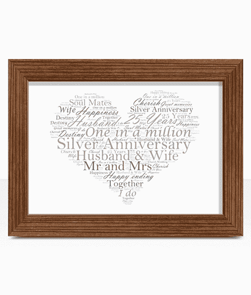 Anniversary Gifts Silver Wedding 25th Anniversary Word Art Gift