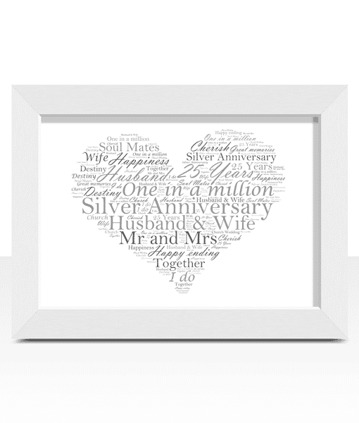 Silver Wedding 25th Anniversary Word Art Gift Abc Prints