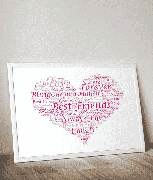 Personalised Heart Word Art Print