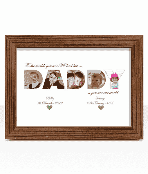 DADDY Photo Word Art Christmas Gift | ABC Prints
