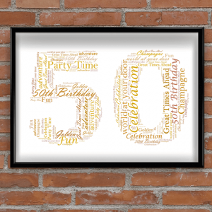 50th Birthday - Anniversary Word Art Gift