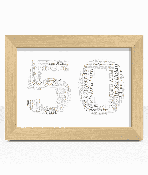 50th Birthday – Anniversary Word Art Gift