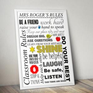 Teacher Gifts Personalised Teachers Rules Print – Teacher Gift