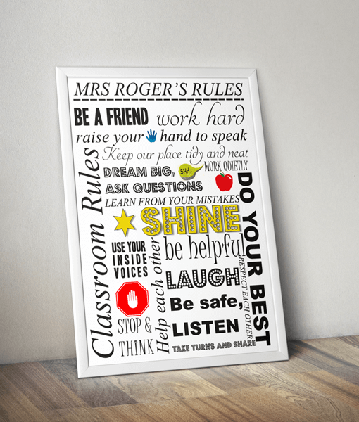 Personalised Teachers Rules Print - Teacher Gift