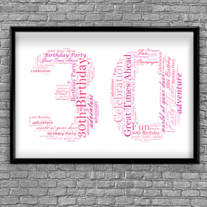30th Birthday - Anniversary Word Art Gift