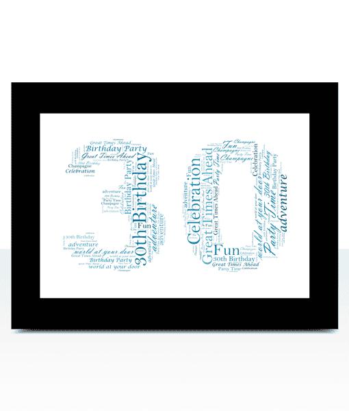30th Birthday – Anniversary Word Art Gift