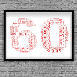 60th Birthday – Anniversary Word Art Gift