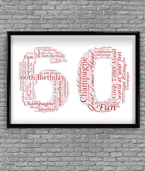 60th Birthday Anniversary Word Art Gift