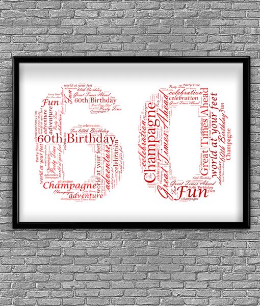 Anniversary Gifts 60th Birthday – Anniversary Word Art Gift
