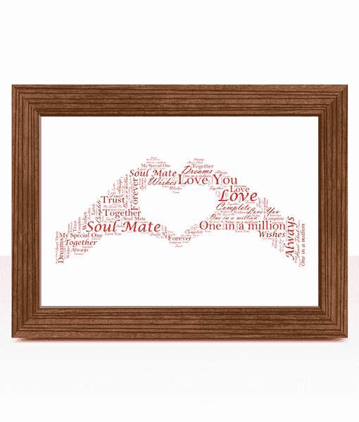 Engagement Gifts Personalised Hand Heart Word Art