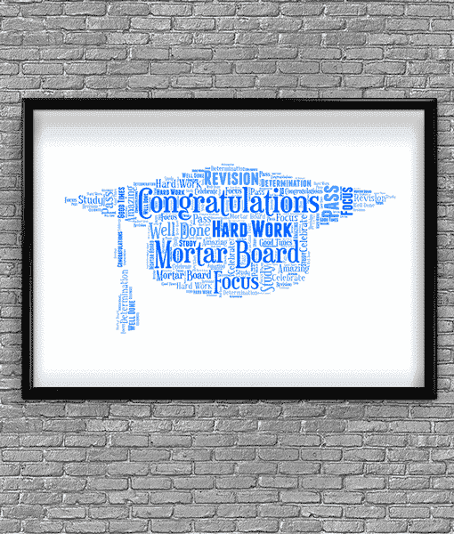 Graduation Gift – Mortar Board Hat Word Art