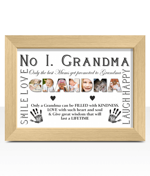 Gifts For Grandparents No 1 GRANDMA Personalised Photo Gift