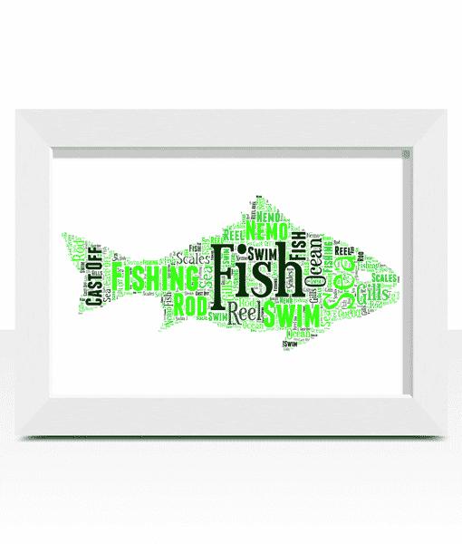 Animal Prints Fish Shape Word Art Print