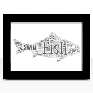 Animal Prints Fish Shape Word Art Print