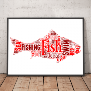 Fish Shape Word Art Print