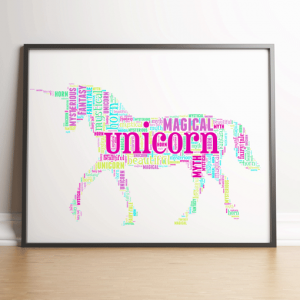 Animal Prints Personalised Unicorn Word Art